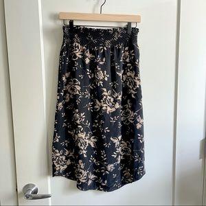 Babaton 100% Silk Floral Skirt with Elastic Waist